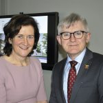 Portrait of Dr Christine McCreary, Dean of the Dental School and Hospital, and  Prof Patrick O'Shea, President of UCC
